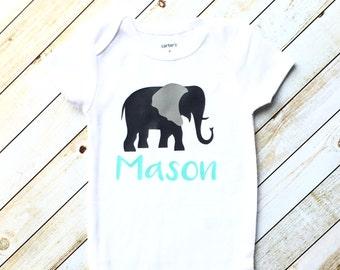 Baby Elephant bodysuit, personalized gift, elephant baby shower, baby shower gift