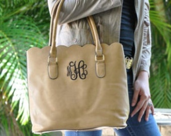 Monogrammed - Scalloped Tote Purse  - TAUPE