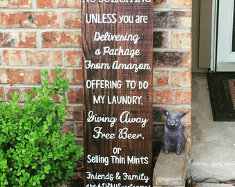 No soliciting unless you're giving away free beer - no solicitors sign - rustic reclaimed wood sign - no solicitation sign - manly sign
