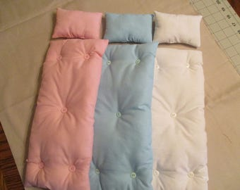 Handmade Barbie Doll Bed Mattress and Pillow Set