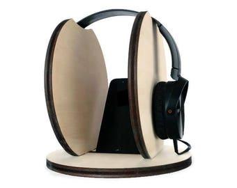 Laser cut wood headphone holder,headphone station,wood smartphone stand,headset stand,headset hanger,headphone stand,gift for music lover