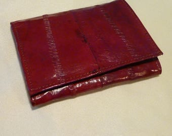 Vintage Mens Wallet - Tri Fold Red Eel Skin - Pocket Wallet - Gift for Him ~
