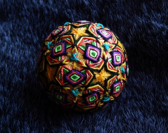 """Temari Ball """"Arigato"""" Psychedelic Art Handmade Home Decor Gift"""