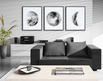 Moon Phases Watercolor Art Prints - Set of 3 Black and White Lunar Phases Prints - Moon Chart Posters - Housewarming Gift