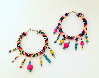 Boho Earrings  Hoop friendship bracelets  Earrings with colorful wooden and glass beads perfect for summer festivals and beach