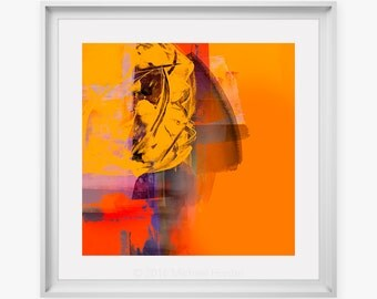 Vibrant Orange Abstract Art Print - Inspired By Abstract Expressionism, Modern Fine Art Giclee Print, Orange Red & Yellow Colour