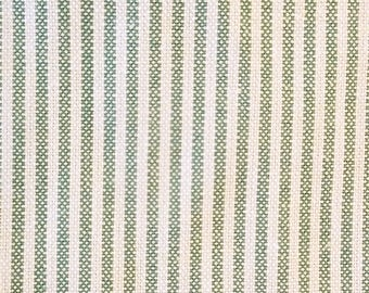 STRIPED TICKING Green & Off-white - 9 YDS