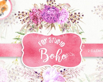Boho Watercolor Clipart Set