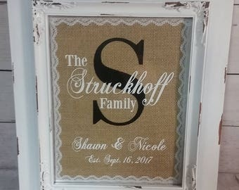 Personalized Burlap Sign with or without the frame / Wedding / Anniversay / Gift for a couple