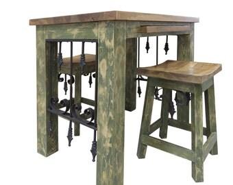 Kitchen Island with seating,Kitchen Island,Table,Wood Island, Painted kitchen Island,Hand Crafted,Handmade,Stools,seating,Cuttin Board