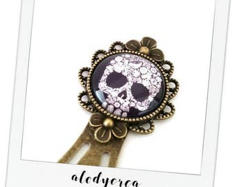 Bookmark metal black skull and blanc• cabochon • bronze