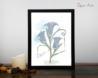 "Tulip print  8 x 10 po or 8.5 x 11po, ""TULIPES BLEUES"", Art print,  Zen illustration of a large bouquet of tulips"