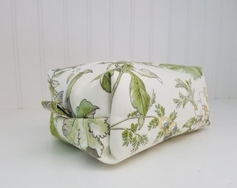 Makeup Bag - Green Leaf Fabric