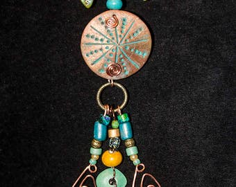 Tribal, bohemian statement necklace with one of a kind polymer clay beads and pendant