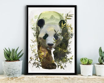 Panda, poster, print, prints, artwork, premium print, wall art, nature, bamboo