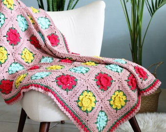 Crochet flower blanket, Crochet pink blanket, Crochet rose blanket, Colorful granny, Throw blanket boho