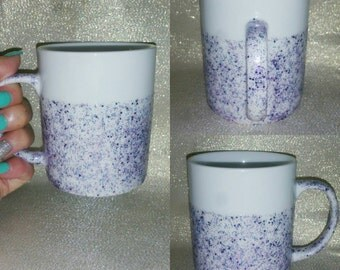 INVENTORY Reduction Purple glitter freehand design handpainted mug INVENTORY SALE