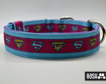 SuperGirl Strong Heavy Duty Dog Collar (pink, turquoise)