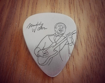 Muddy Waters Silver Guitar Pick, Blues Music Gift, gift for him, custom collectible, music pendant, Blues Guitarist, Chicago Blues, Guitar