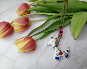 Necklace Colorful Cute Ceramic Giraffe