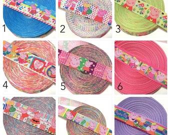 Peppa Pig Ribbon, Peppa Pig Grosgrain Ribbon by the Yard, Peppa Pig Party Ribbon, Peppa Pig Theme Party