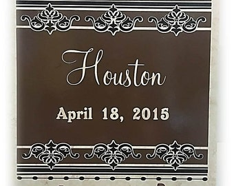 Personalized Wedding Tile - Front Porch Decor - Fireplace Decor - Wedding Gift