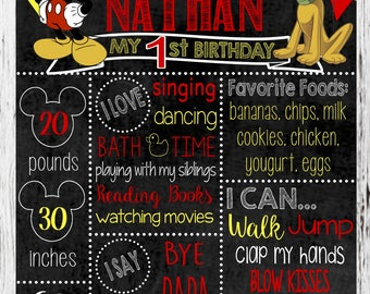Mickey Mouse Birthday Sign / First Birthday / Chalkboard Sign / Personalized /