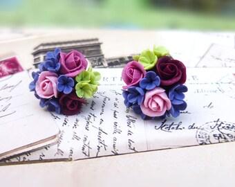 Cute earrings Rose earrings Stud Earrings Flowers earrings Cute earrings Floral earrings Colorful Earrings Gift for woman Cute clay jewelry