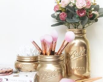 Gold Mason Jar, makeup brush holder, gold desk accessories, gold decor, metallic vase, desk tidy, pen pot, makeup storage, teen girl room
