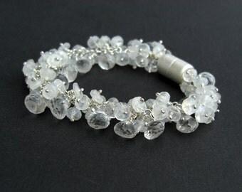 Moonstone Crystal bracelet 925 Silver, Bridal jewelry, white gemstone bracelet, magnetic clasp