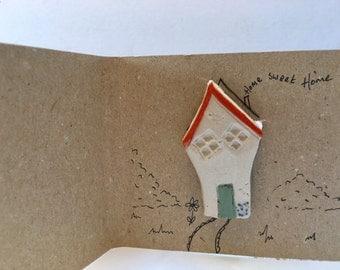 house brooch - ceramic  handmade wonky cottage