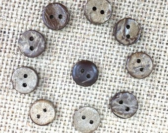 Coconut Buttons, 10mm Buttons, .40in Coconut Buttons, 1cm Coconut Buttons, 20 Coconut Buttons, Tiny Buttons, Craft Buttons, Wood Buttons