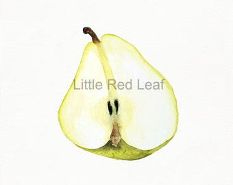 Half Pear Giclee Print from Original Watercolor, Kitchen Decor, Wall Art 8 x 8 Inch