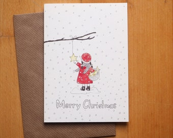 "Christmas card ""girl Star"" / / signature: German or English / / Christmas greeting card with envelope"