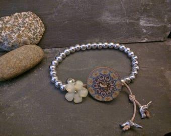 Hokte silver bead single boho wrap bracelet