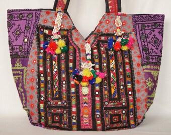 Patchwork bag, large shoulder bag, tribal handbag, boho bag, embroidered bag,indian banjara bag, vintage bag,gypsy bag,shopping bag,tote bag