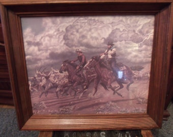 Vintage Cowboy Print with Wood Frame/ and Glass (# 941/56)