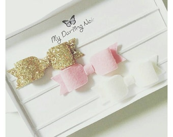 Bows in a set of 3 100% Quality Wool felt and gold glitter bows