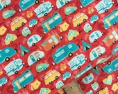 Road Trailer in Red Cotton Fabric from the Road Trip Collection by Riley Blake