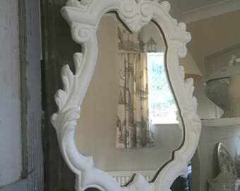 Ornate french white chalk painted shabby chic aged Mirror.