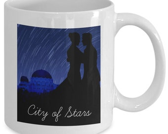 CITY OF STARS Mug - Hollywood Observatory Dance - Movie Musical Fan Gift - 11 oz white coffee tea cup
