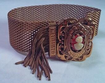 Antique Victorian Carnelian Cameo Gold Plate Tassel Adjustable Slide Bracelet