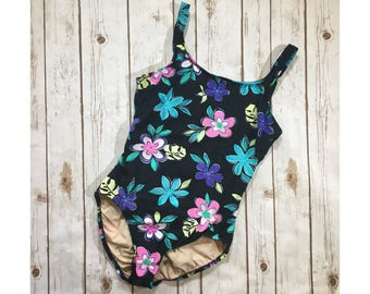 Vintage 90s Swimsuit, 90s One Piece Bathing, Jantzen Vintage Floral Swim Suit Womens Size 12L, Flower Tropical Print, 90s Swimwear