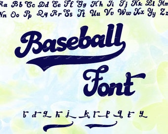Baseball font, svg, dxf, eps, studio v3, png, cdr, file for Silhouette Cameo, Curio, cut file for cutting machines, instant download