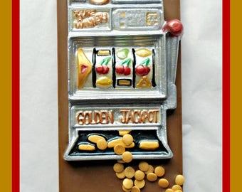 Slot Machine Chocolate Gift/Fruit Machine/Vegas/Jackpot/Win/one arm bandit/gambling/lucky/personalised/edible gift/mum/dad/men/women/gamble