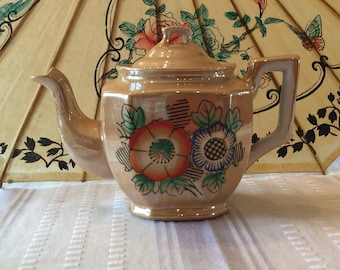 Lovely teapot luster orange color with floral pattern Japan circa 1945 ceramic