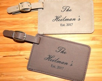 Custom Wedding Luggage Tags Set Of 2, Just Married Luggage Tags, Wedding Gift