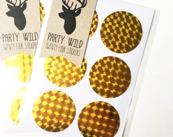 Circle Stickers Pk24 - Holographic Gold