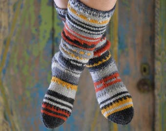 colorful striped socks, hand knitted 37/38