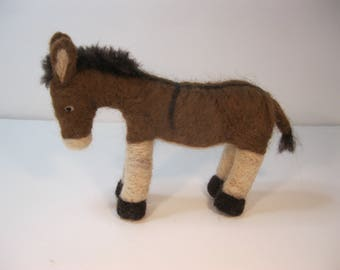 Needle felted brown donkey